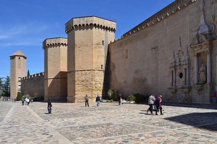 Poblet, torres i part de la façana de l'església